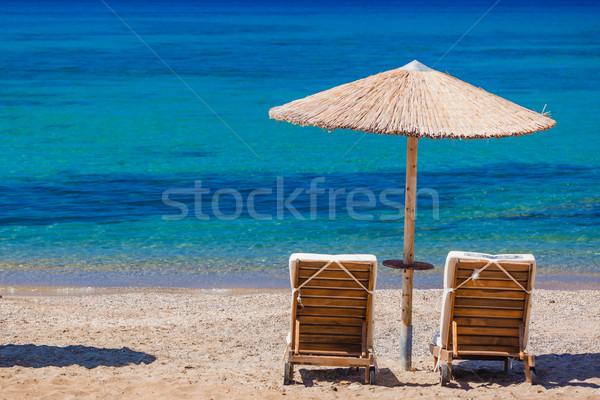 Yaz plaj Yunanistan su bulutlar manzara Stok fotoğraf © prg0383