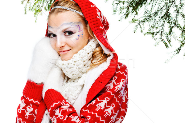 красивая женщина теплая одежда белый девушки модель красоту Сток-фото © prg0383