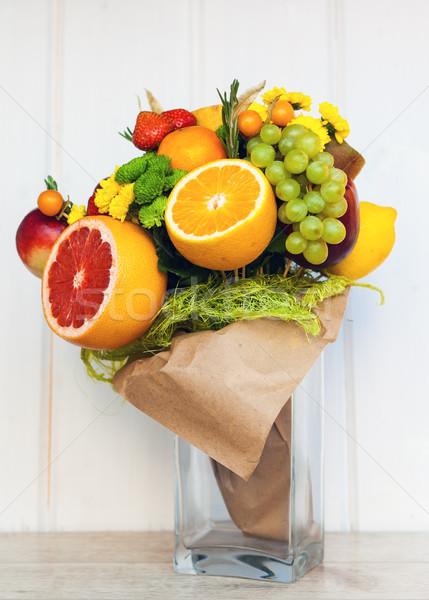 Eredeti szokatlan ehető virágcsokor gyümölcsök fa Stock fotó © prg0383