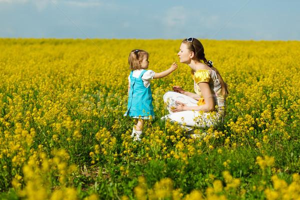 Stock fotó: Kislány · anya · baba · citromsárga · mező · nő