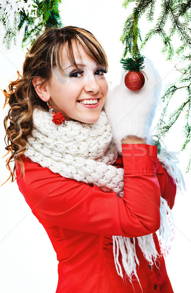девушки Рождества мяча изолированный женщину Сток-фото © prg0383