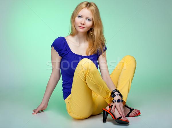 Gyönyörű nő boldog fiatal nő ül padló arc Stock fotó © prg0383