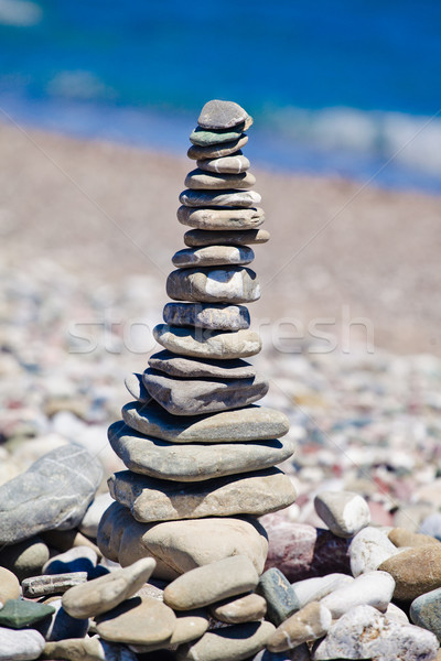 Foto stock: Pirâmide · pedras · praia · saúde · verão · pedra