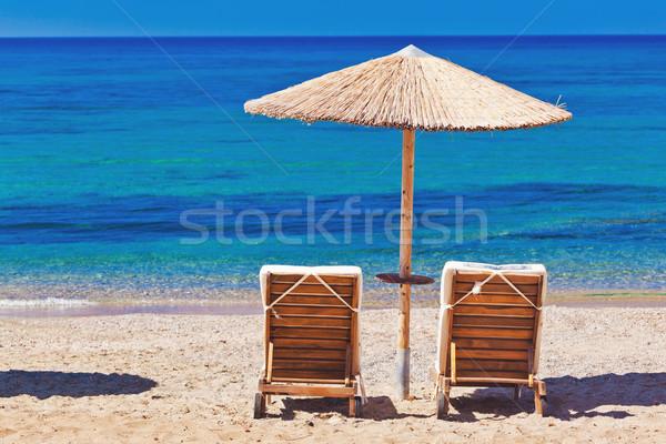 Parasols Griekenland strand water Stockfoto © prg0383