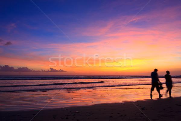 летнее время пляж женщины мужчины Бегуны силуэта Сток-фото © prg0383