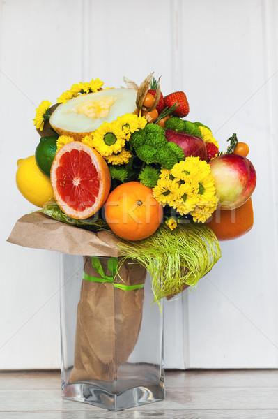 Foto stock: Original · incomum · comestível · buquê · frutas · madeira