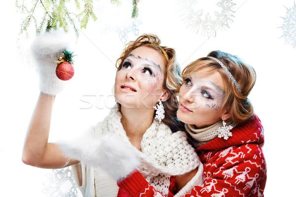 два девочек Рождества мяча изолированный Сток-фото © prg0383