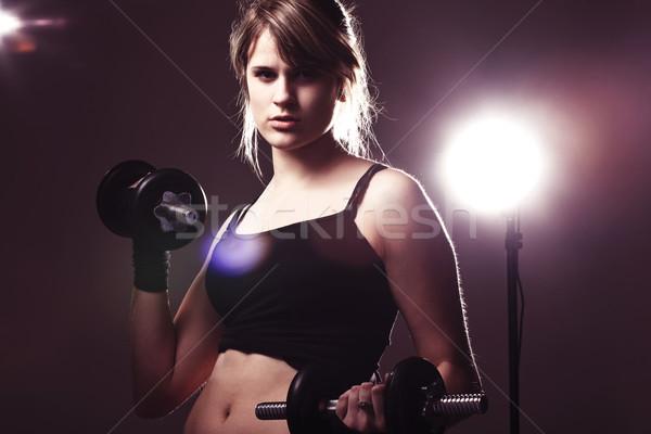Fiatal nő stúdió edzés nő sport test Stock fotó © prg0383