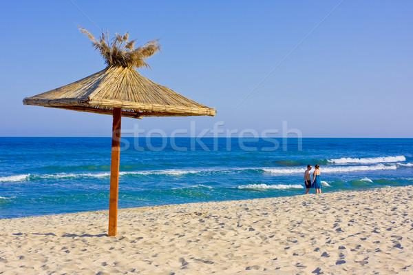 Strand zomer paraplu hemel liefde natuur Stockfoto © prg0383