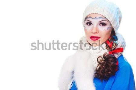 сексуальная женщина настоящее белый бумаги изолированный женщину Сток-фото © prg0383