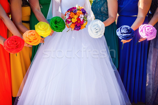 bride and bridesmaids bouquets Stock photo © prg0383