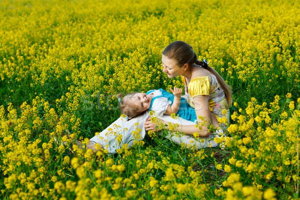 девочку матери ребенка желтый области женщину Сток-фото © prg0383