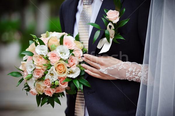 Gelin buket çiçek sevmek Stok fotoğraf © prg0383