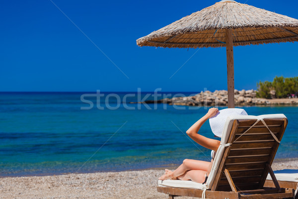 view of the beach with chairs and umbrellas Stock photo © prg0383