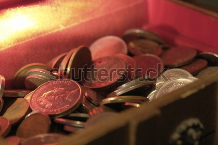 Nyitva kincsesláda pénz érmék üzlet fa Stock fotó © prill