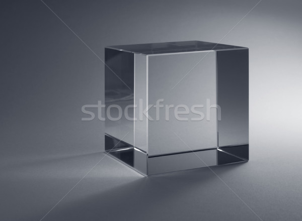 Szilárd üveg kocka stúdió fotózás szürke Stock fotó © prill