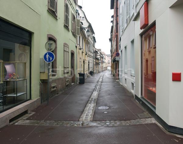 Wet Straße Landschaft wenig Haus Stock foto © prill