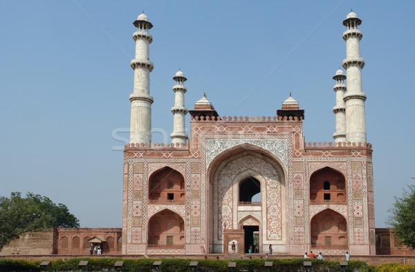 Taj Mahal mausolée Inde temps mur Photo stock © prill