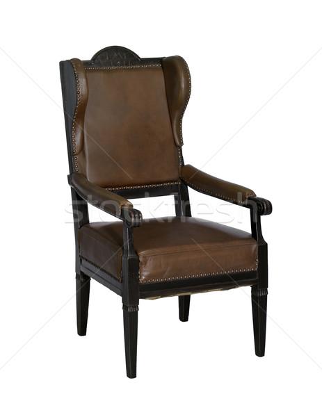 Nostálgico asa cadeira velho marrom isolado Foto stock © prill