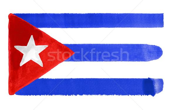Küba bayrak örnek suluboya arka plan sanat Stok fotoğraf © prill