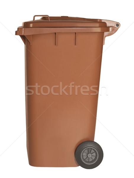 Kahverengi atık konteyner stüdyo fotoğrafçılık beyaz Stok fotoğraf © prill