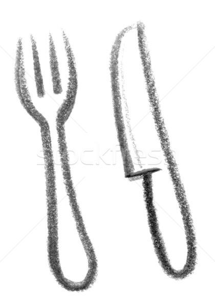 Bestek icon illustratie mes vork voedsel Stockfoto © prill