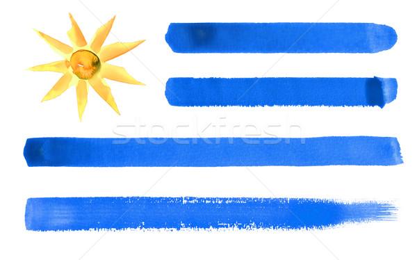 Uruguay zászló illusztráció vízfesték háttér művészet Stock fotó © prill