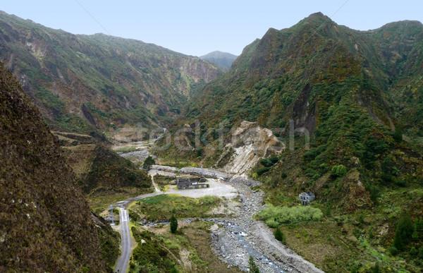 Rotsformatie landschap water weg natuur landschap Stockfoto © prill