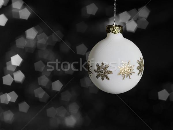 Weiß Weihnachten Spielerei metallic Ornamente verschwommen Stock foto © prill