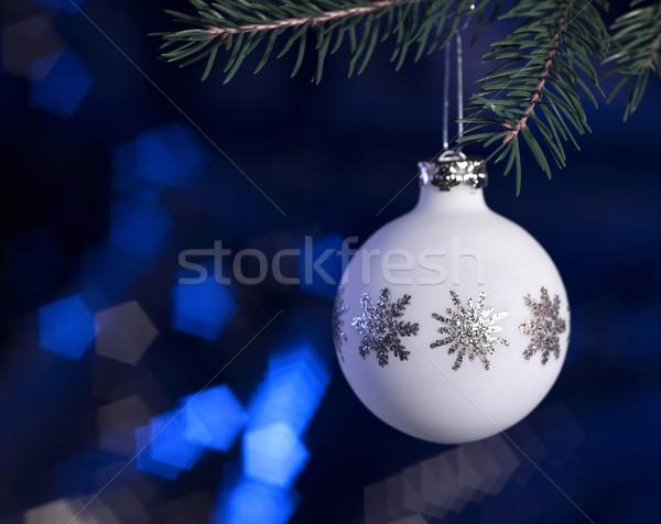 Witte christmas snuisterij donkere Blauw Maakt een reservekopie Stockfoto © prill