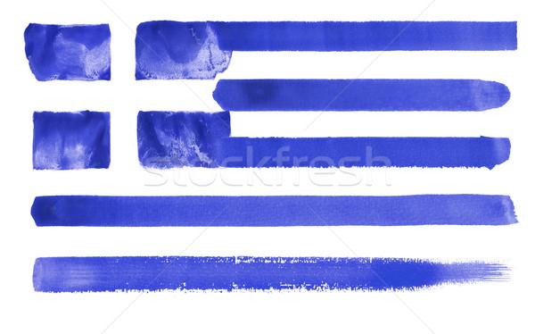 Stok fotoğraf: Yunanistan · bayrak · örnek · suluboya · arka · plan · sanat