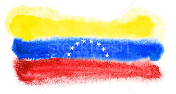 Venezuela zászló illusztráció vízfesték háttér művészet Stock fotó © prill
