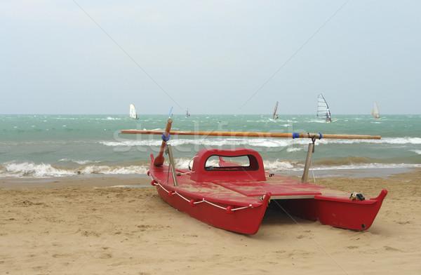Rojo catamarán paisaje barco Foto stock © prill