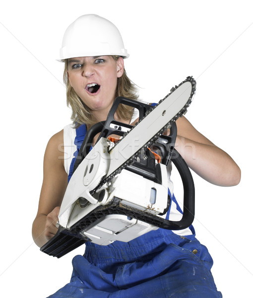 aggressive chain saw girl Stock photo © prill