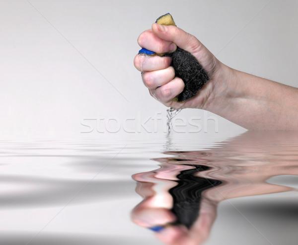 Mão molhado esponja água superfície da água Foto stock © prill
