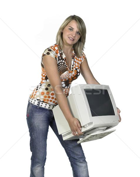 Aranyos lány hordoz számítógépmonitor fiatal szőke nő Stock fotó © prill