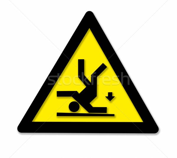 падение знак опасности черный желтый человек Сток-фото © prill