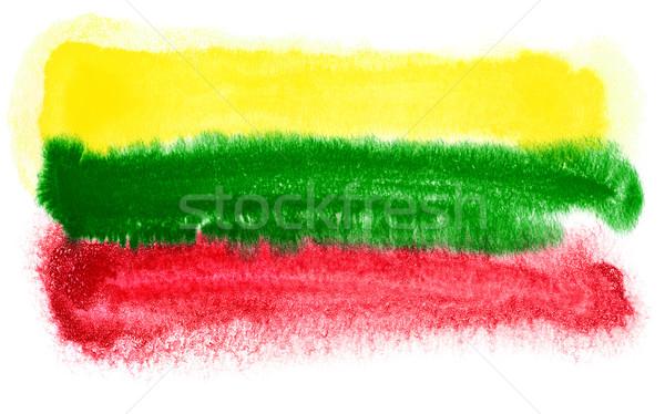Litvánia zászló illusztráció vízfesték háttér művészet Stock fotó © prill