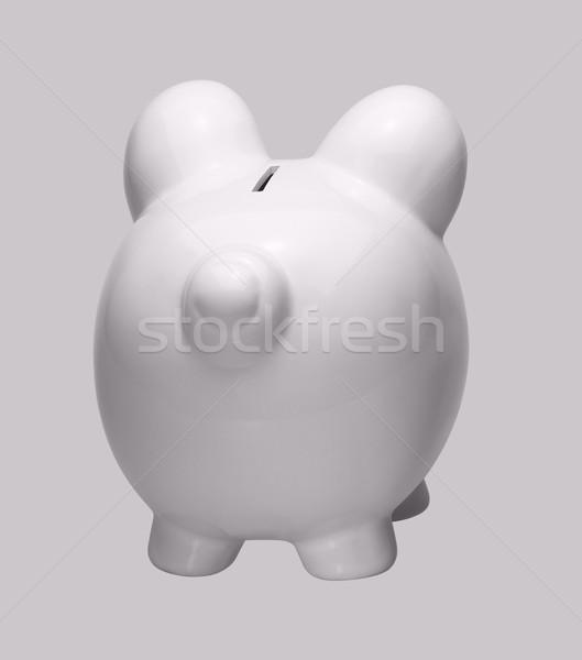 Witte porselein spaarpot schone licht Maakt een reservekopie Stockfoto © prill