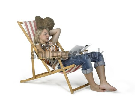 computing girl in canvas chair Stock photo © prill