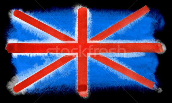 Großbritannien Flagge Illustration Wasserfarbe Hintergrund Kunst Stock foto © prill