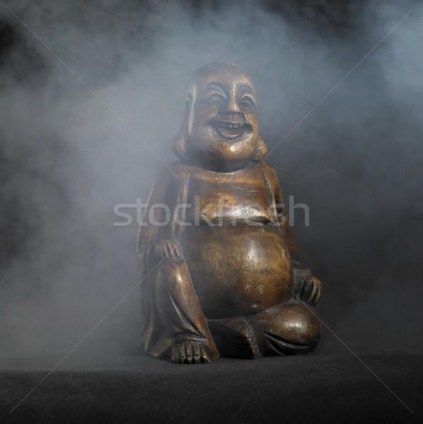 Buddha sculpture sombre Retour brun smoky Photo stock © prill