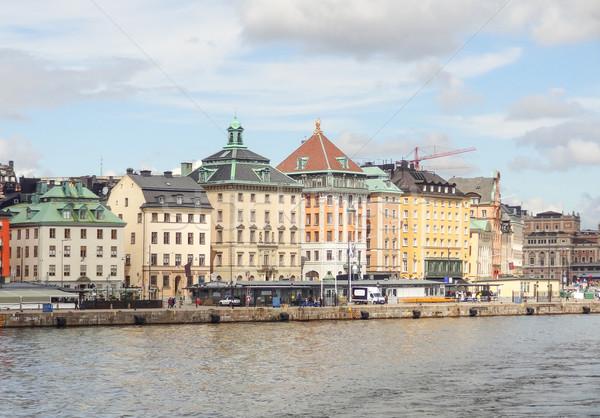 Stockholm bulutlar Bina seyahat ufuk çizgisi Stok fotoğraf © prill