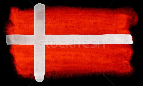 Dánia zászló illusztráció vízfesték háttér művészet Stock fotó © prill