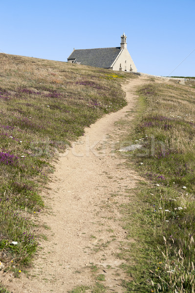 Kapel van muur landschap kerk rock Stockfoto © prill