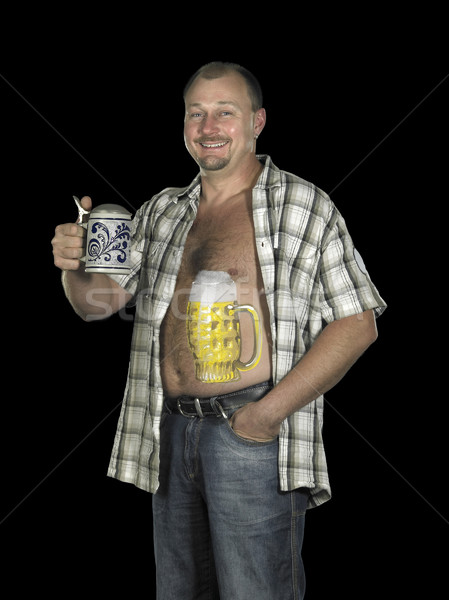 man with beer belly and stein Stock photo © prill
