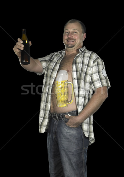 man with belly and beer Stock photo © prill