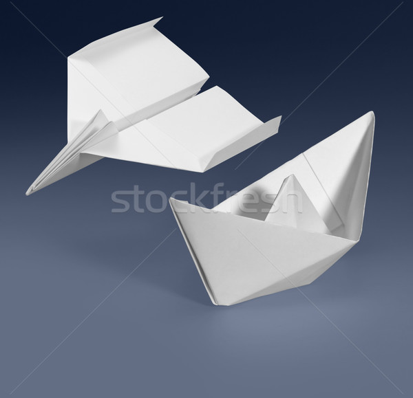 Papel navio avião branco azul gradiente Foto stock © prill