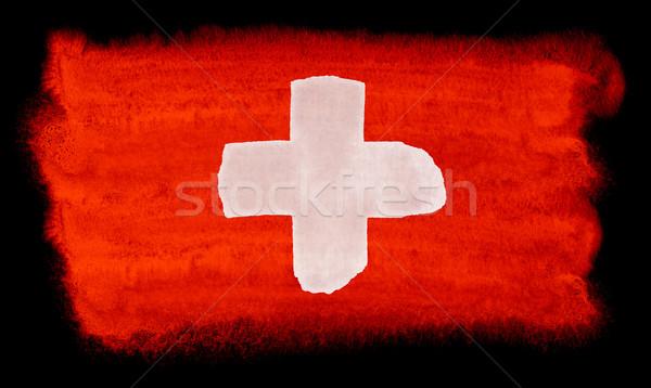 Svizzera bandiera illustrazione acquerello sfondo arte Foto d'archivio © prill