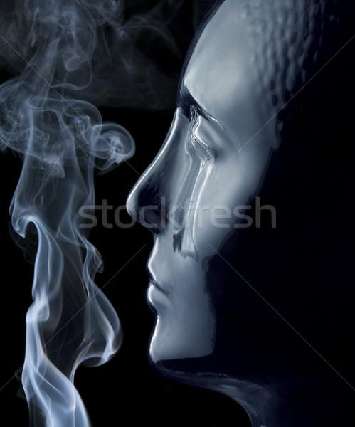 glass head and smoke Stock photo © prill